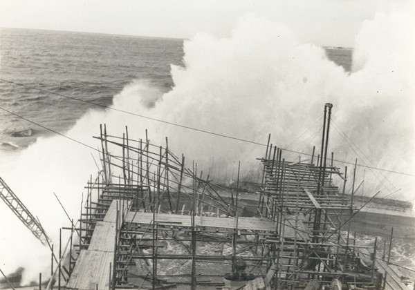 High waves caused by a typhoon